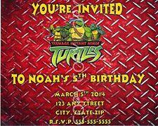 Teenage Mutant Ninja Turtles Invitations 8 pack Personalized