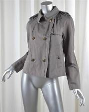JUICY COUTURE Womens Casual Gray Cotton Ruffle Peacoat Zip Jacket S NEW