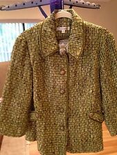 TravelSmith Green Tweed 5-Button Jacket/Blazer Size 16 NEW velvet trim 3/4 sleev