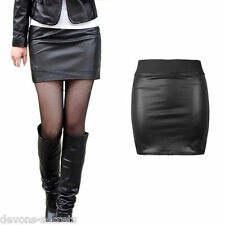 Sexy ladies faux PVC leather black new mini pencil clubbing short skirt 8 10 SK3