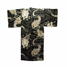 "Japanese Men's Cotton 63"" Yukata Kimono Black Fortune Dragon Tiger Made in Japan"