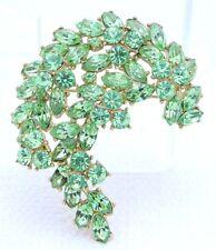 VTG 1961 CROWN TRIFARI Gold Light Green Rhinestone Leaf Flower Pin Brooch