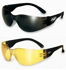 2 Rider Motorcycle Riding Sunglasses-SUPER DARK & YELLOW MIRROR One Piece Lens