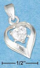 STERLING SILVER PENDANT APRIL BIRTHSTONE HEART WITH A NEW NECKLACE