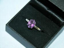 LOT 502 STUNNING OVAL SOLITAIRE AMETHYST SOLID STERLING SILVER RING - SIZE S