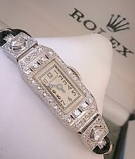 Rare Ladies Art Deco Platinum Diamond Rolex Princess Watch ~ Serviced