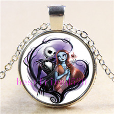 Nightmare Before Christmas Cabochon Glass Tibet Silver Pendant Necklace#Y8J