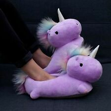 Unicorn USB Heated Slippers PURPLE Footwarmers Plush Detachable Cable By Smoko