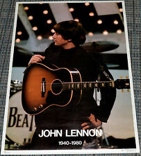 JOHN LENNON PLAYING GUITAR 1940-1980 TRIBUTE! 1980 ORIGINAL 20x28 PINUP POSTER!