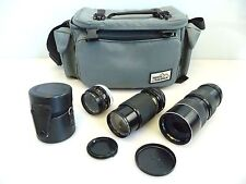 SLR Camera Lens Lot Of 3 Lenses with Filters and Bag. Canon, Gemini, Soligor