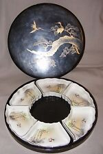 VINTAGE CHINESE JAPANESE LACQUER CASED SUPPER SET PORCELAIN BOWL SIGNED