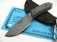 TOPS Black Micarta SPARROW HAWKE Straight Fixed NECK Knife + Sheath! SPH-01