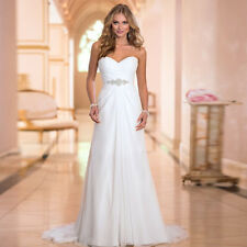 White Sweetheart Sleeveless Floor Length A-Line Court Train Wedding Dress