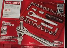 NEW Craftsman 30pc Max Axess 1/4 & 3/8-in. Drive Socket Wrench With Rugged Case