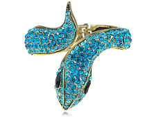 Fun Aquamarine Blue Zircon Crystal Rhinestone Snake Animal Bracelet Bangle Cuff