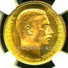 DENMARK 1913 VBP AH GOLD COIN 20 KRONER * NGC CERTIFIED GENUINE MS 64 * SUPERB