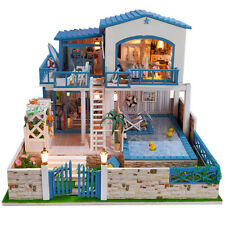 DIY Wooden Dollshouse Miniature Kit w/ LED Lights - House with Pool