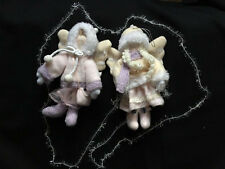 Set of 2 Pink Ivory Girl Angel Fabric Christmas Tree Ornament Home Decoration