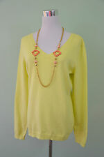 ORSAY Design Ladies Light Yellow Plunge V Neck Thin Knit Jumper Sweater sz L Q8