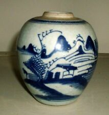 Antique 19th c. Chinese Porcelain Blue & White Landscape Jar Vase Export