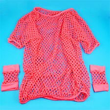 BTip 80s Mesh Top and BTort Mesh Gloves Various Neon Colours -Rose Red A+