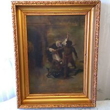 RARE ANTIQUE 1898 GENRE MASTER KING SLAVES NATIVES FIGHTING OIL PAINTING