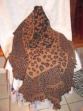 """THROW WITH FRINGE ANIMAL PRINT 46"""" X 64"""" NEVER WASHED-LAP BLANKET-JUNGLE-BLANKET"""