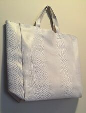Saks 5th Ave Tote Bag Medium Size Faux Leather White #022016S GWP New