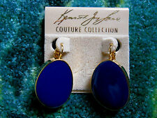 Kenneth Jay Lane Gold Blue Enamel Eurowire Pierced Earrings