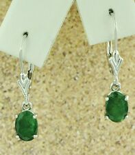 DANGLING 2.20 ct  OVAL EMERALD EARRING white gold 14K lever back MADE IN USA
