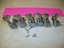 Chrome Inline Guitar Tuners Tuning Pegs Set of 6 Fits Fender Stratocaster + More