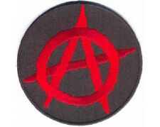 LOT OF 2 - ANARCHY RED ROUND EMBROIDERED  PATCH