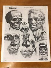 Vtg Face Drawing Diagram Poster Photo Print Art Class Lennon Head Symmetry Skull