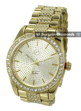 mens big gold tone CZ ice out clubbing watch techno pave link bracelet