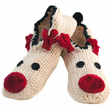 Ladies Knit Christmas Rudolph Reindeer Face Ballerina Slippers Non-Skid Pompom