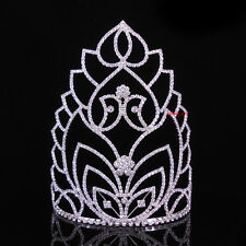 """7"""" Tall Large Full Crystal Wedding Bridal Party Pageant Prom Tiara Crown Combs"""