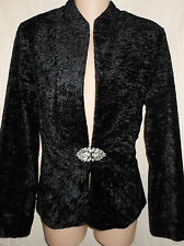 BLACK VELVET Vtg M Faux Fur Gothic Jewel Clasp Jacket Blazer Coat M Retro Goth