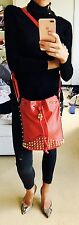 Topshop sell out runway designer chic red real leather skull studded bucket bag!