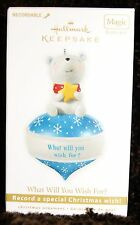 Hallmark Keepsake Cute Bear Ornament - What Will You Wish For? Recordable Magic