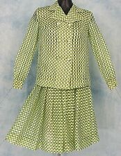 MiD CENTURY MOD VtG SHEER CHiFFON GREEN OP ART POLKA DOT BoHo DRESS JACKET SKiRT