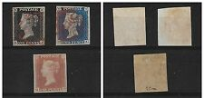 QV 1840/41 PENNY BLACK+2d.BLUE+PENNY RED Cat.Unif.1/3-FIRST STAMPS NEVER ISSUED