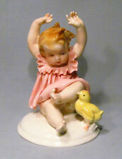 Vintage Germany Baby Girl Child Playing w/ Chick Porcelain Figurine - Precious!