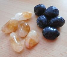 CITRINE & APACHE TEARS - 10 CRYSTALS 17mm-20mm - WITH DRAWSTRING BAG
