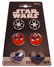 Disney Star Wars 3 Earring Set R2D2 Heart Post Stud Earrings