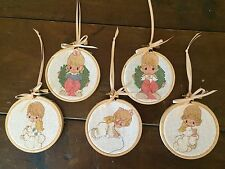 Lot of 5 Precious Moments Counted Cross Stitch Christmas Ornaments