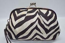 Coach Zebra Nylon Framed Kisslock Wristlet Cosmetic Bag Pouch Wallet