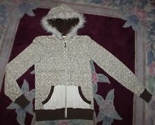 Billabong WOMENS Jrs S Cream Ivory Brown Distressed Coat cropped Jacket Hood Fur