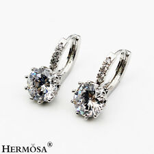 Hot Wedding Party Pure White Topaz Genuine Gemstone 925 Sterling Silver Earrings
