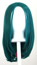 17'' Long Straight No Bangs Viridian Blue Green Cosplay Wig NEW