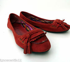 F&F SOFT SUEDETTE RED SOFT FLATS MOCCASINS LOAFERS SHOES UK 5 EU 38